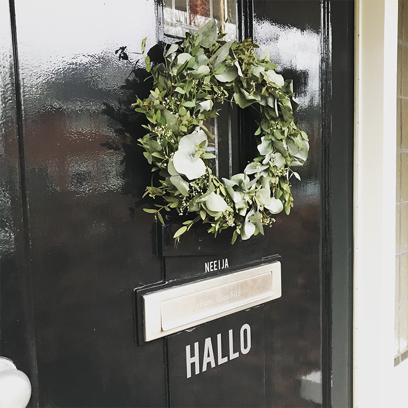 hallo door decal black door