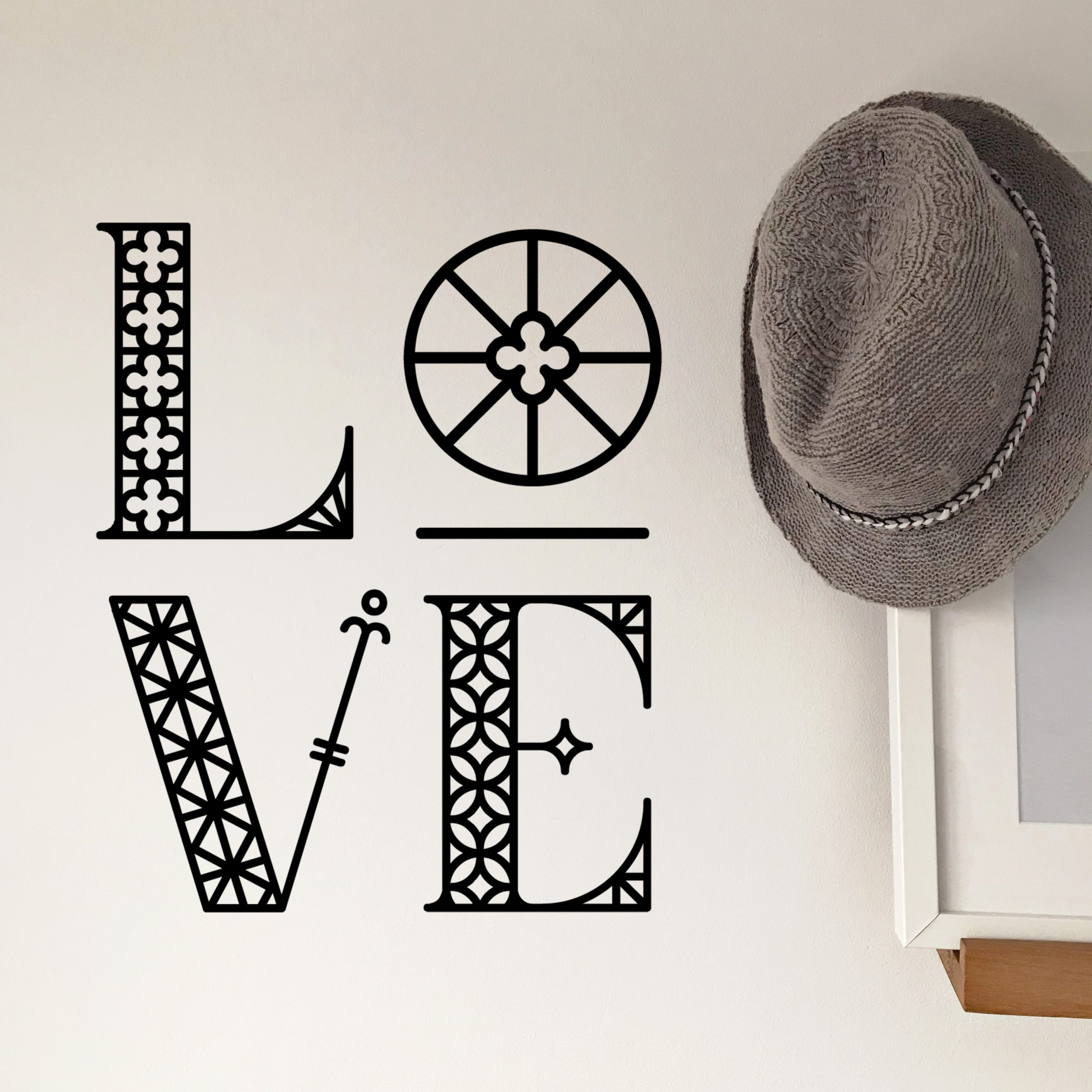 Hat Wall Elaborate Love Black