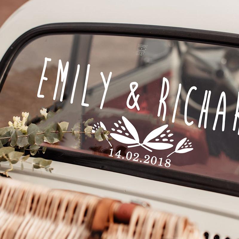 LR Tulip wedding car sticker 3