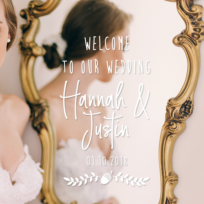 LR wedding welcome decal 4 acorn 2
