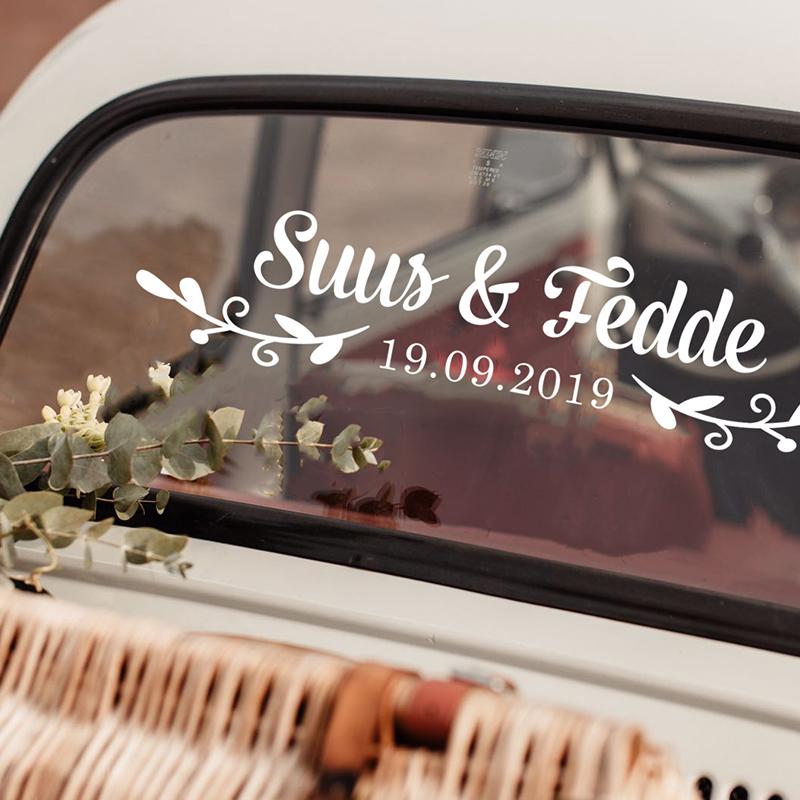 LR car wedding sticker option 12 swirley wreath 2