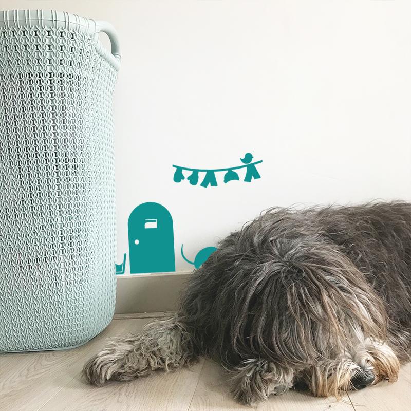 Laundry Mouse House Turquoise 1