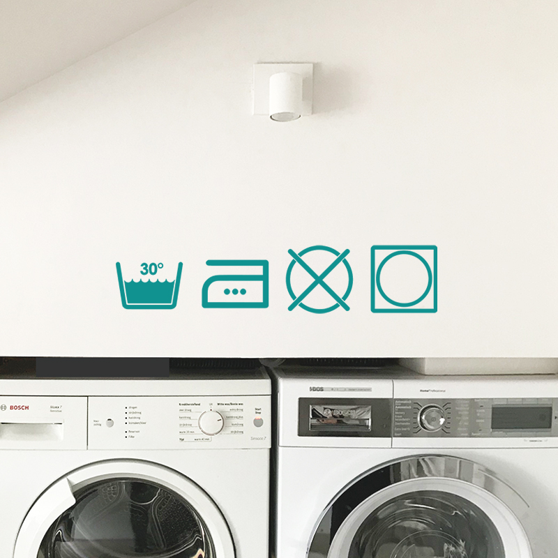 Laundry Wall Decor Washing Instructions Symbols Match Set Love